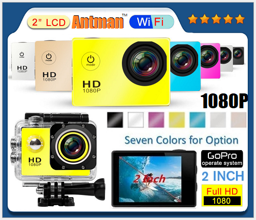 OEM wholesale underwater waterproof mini wifi full hd 1080p sport video cam 1080P action camera with 2.4G Remote Controller