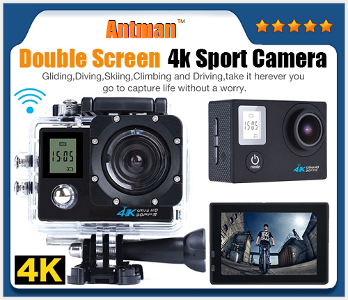 170 Degree View Angle Double LCD 1080P Wifi Digital 4K Video 30M Waterproof Action Camera