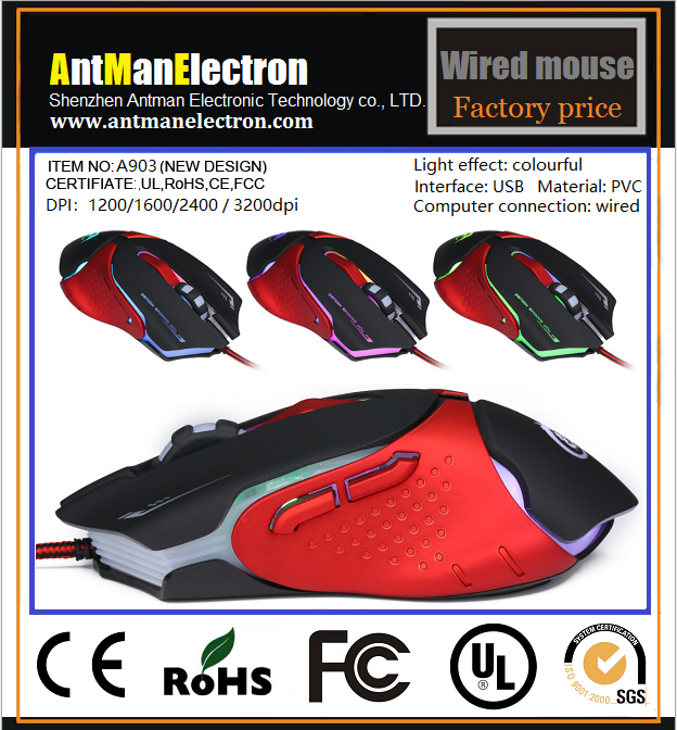 High Quality 7 color luminescent 2.4G wired mouse with 1200/1600/2400/3200DPI for desktop