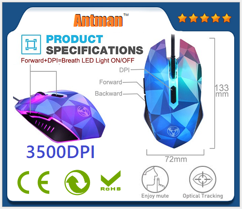 Dazzle color diamond edition 3200DPI 6d gaming mouse wired mouse gamer optical