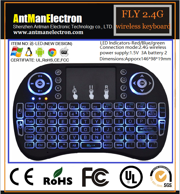 2.4G Flying wireless keyboard i8-LED with Touchpad For Smart android TV box Keyboard