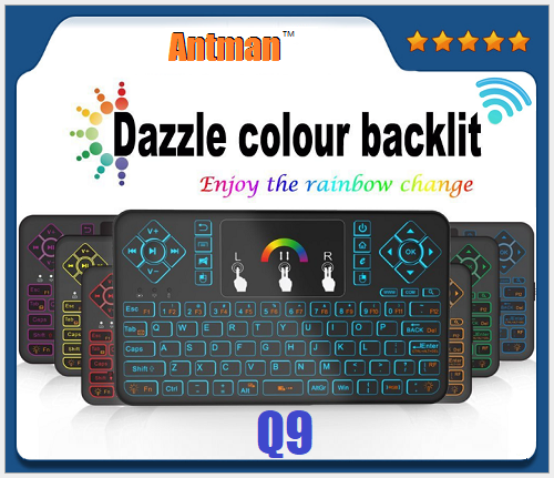 2.4G with 7 colors backlit Wireless Flying Keyboard and Mouse Set Q9 Air Mouse Remote