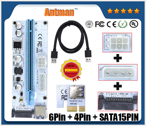 6Pin/4pin/SATA VER008S PCI-E Riser 16x to 1x Powered Adapter 60cm USB 3.1 Extension Cable