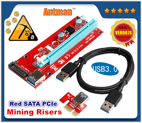 VER007S SATA PCI-E riser PCIe1x to16x Riser Card adapter 60cm USB cable for Bitcoin Litecoin