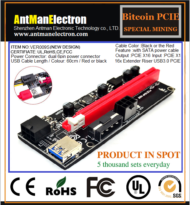 VER009S PCIE express x1 to pci adapter PCI Express USB 3.0 Riser cable bitcoin asic miner usb to pcie bitcoin riser