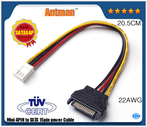 20cm SATA 15 Pin male to IDE 4 pin power Cable