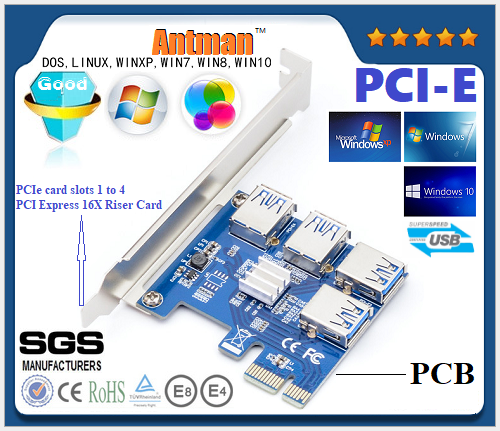 Hot sales EUX104 PCIe card 1 to 4 PCI Express 16X Riser Card PCI-E 1X slot 4 PCIe External PCIe 1 to 4port USB 3.0 Adapter Card