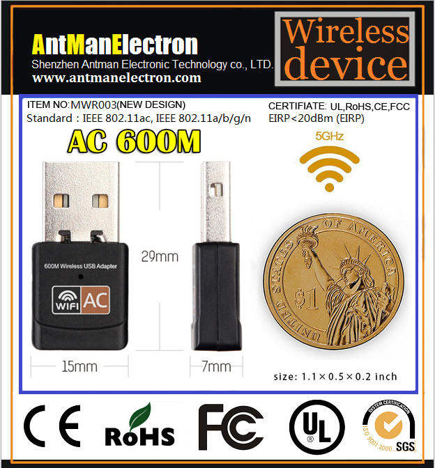 Dual-Band 2.4GHz+5GHz mini 11AC 600M wireless USB Wifi Adapter with RTL8811AU chipset