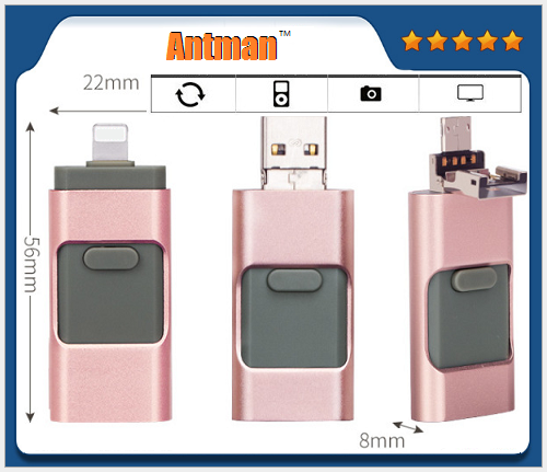 3 in 1 U Disk 8GB/16GB/32GB/64GB USB Flash Drive for Android,IOS and Windows