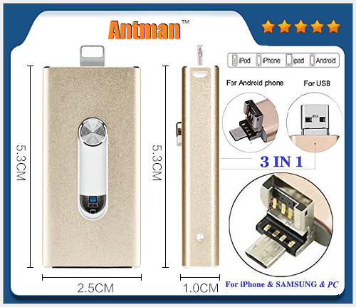 New Design High Read&Write Speed 3 in 1 USB Flash Drive 4-128GB Memory Stick U Disk for iphone