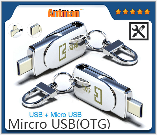 Waterproof Metal U Disk 16gb 32gb 64gb 128gb Micro USB OTG Flash Disk USB+Micro USB Memory Stick