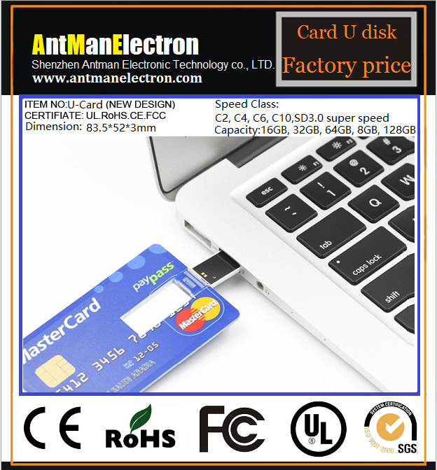 High Quality Promotional Custom Credit Card USB Flash Drive card shaped USB 2.0 flash drives