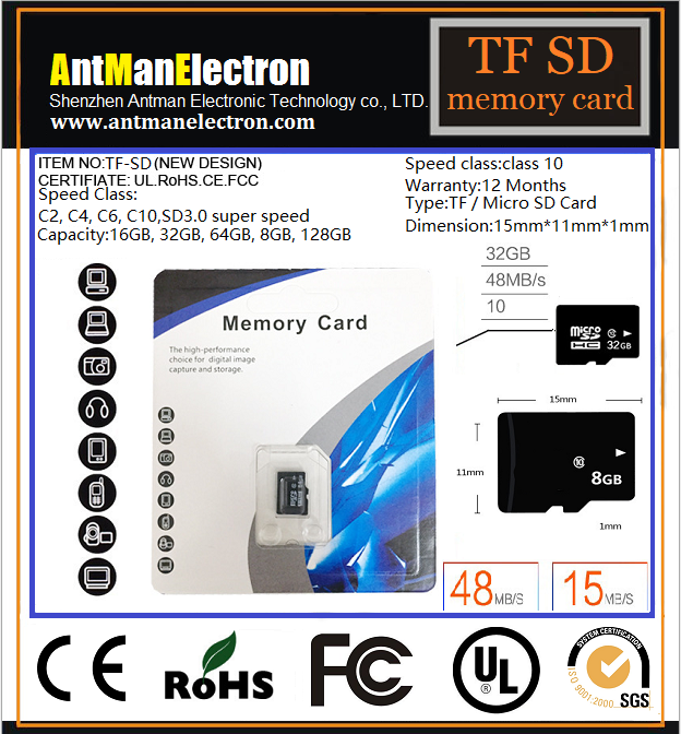High Speed Full Capacity Memory SD Card 4-128GB custom logo micro memory SD/TF card