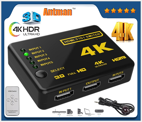 HDMI switcher 5 Port 5x1 HDMI Switch 5 in 1 out IR Remote with Full 3D and 4Kx2K for HDTV DVD STB PS4 PC