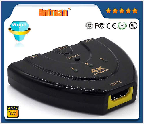 3 in 1 out Pigtail HDMI switch 3x1 HDMI switcher support 4K and 3D with USB power cable Manual control