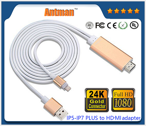 New wholesale 1080P HDTV 8pin to HDMI cable for iPad/iPhone