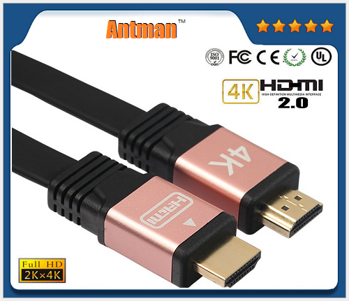 High quality V2.0 1M/1.8M/3M/5M/10M Flat braided HDMI metal shell 18Gbps 1080P 3D 4K*2K HDMI cable for HDTV