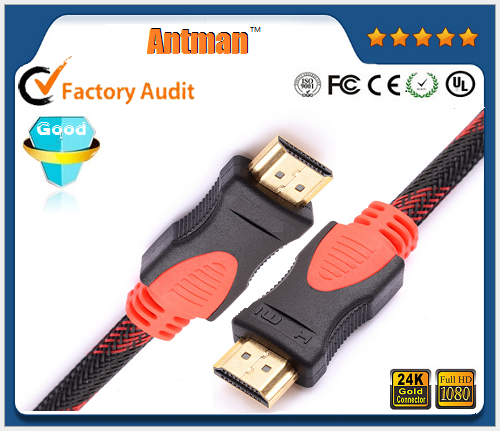 Factory price 1.5M red braided gold plated 1080P HDMI cable