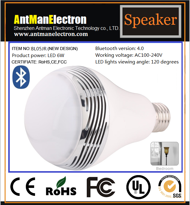 Magic Bulb Bluetooth V4.0+ EDR Speaker with Smart Color Led Lamp/Light with Remote For iOS Android