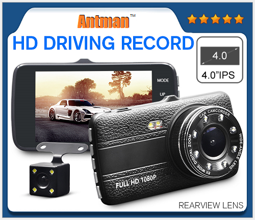4.0 inch dual camera rear view camera mirror motion detection dash cams with night vision car reverse camera