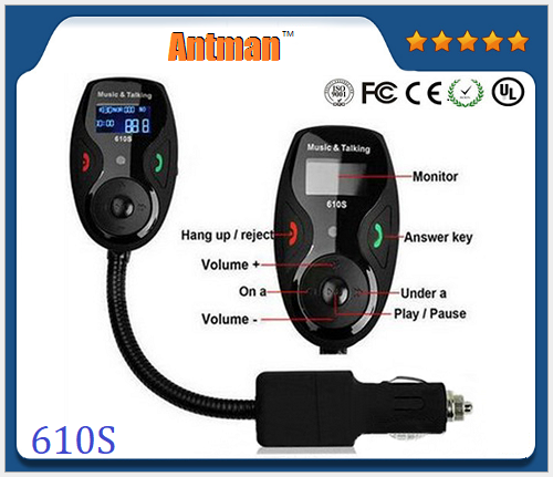 610s New design Wireless BT FM Transmitter Car kit with Remote Controller, USB Charging Port for Smartphone