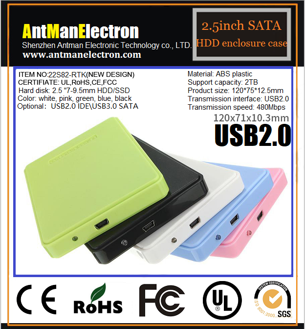 Hot selling HDD protector ABS 2.5 inch hdd enclosure USB2.0 9.5mm HDD case