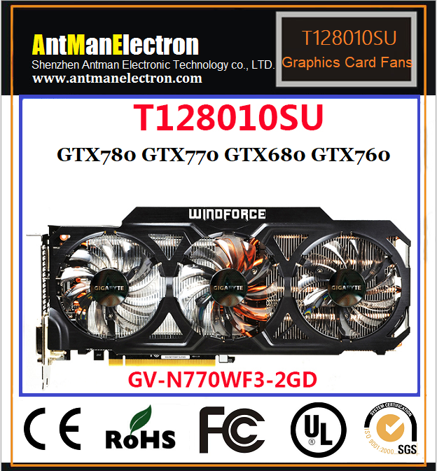 Graphic cooling fan T128010SU 0.35A DC12V graphics card Video Card GPU fan for GTX780 GTX770 GTX680 GTX760