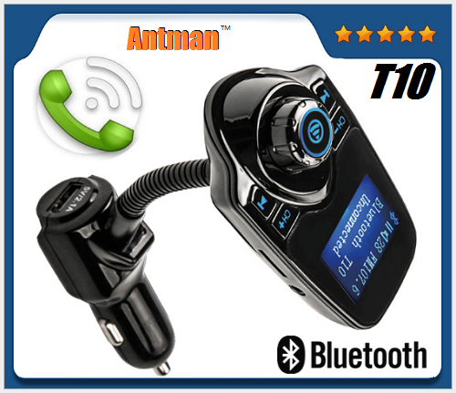 T10 Bluetooth Car Kit Handsfree FM Transmitter MP3 Music Player 5V 2.1A USB Car Charger with Blue LED