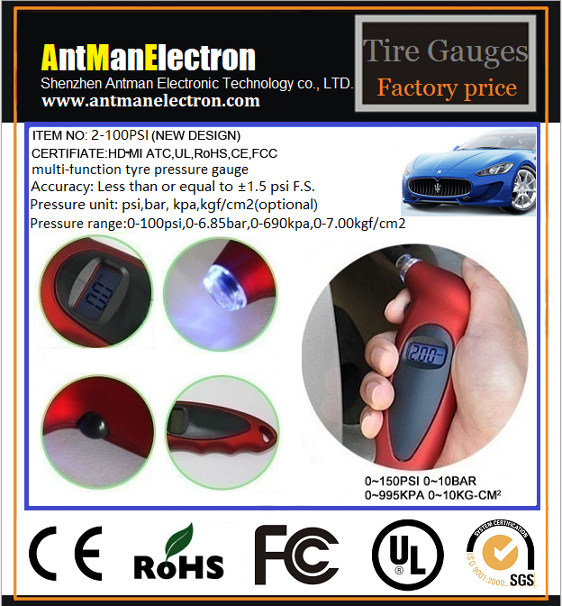 Hot sell 150PSI with Backlit LCD and Non-Slip Grip Digital tire pressure gauge
