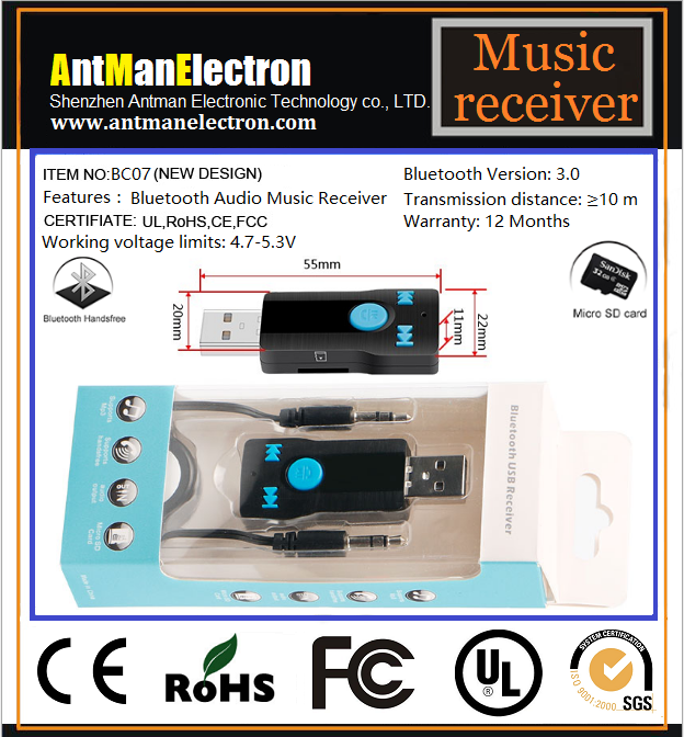 Mult-function Portable BC07 Bluetooth audio receiver as Vehicle Bluetooth Card reader and MP3 Play