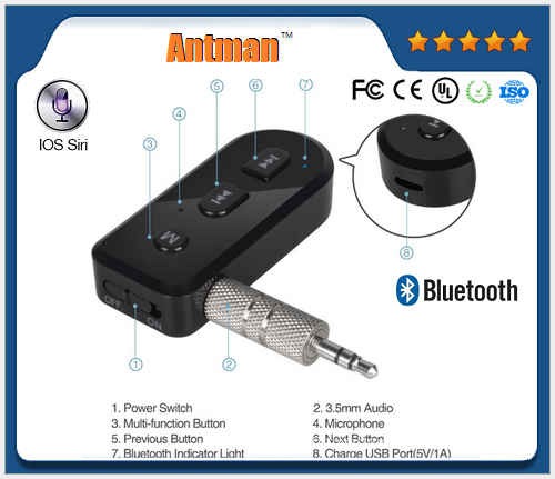 Wireless Car Bluetooth Receiver for Speaker 3.5 mm Audio Receiver