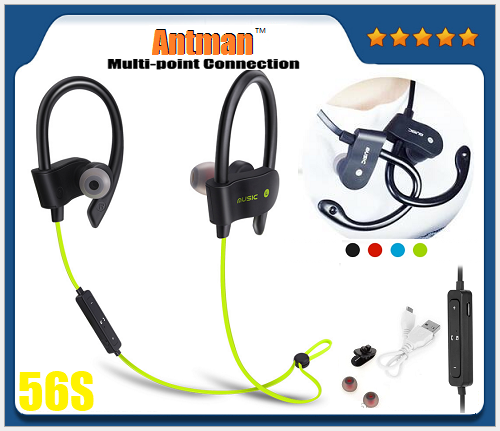 56S Mini Stereo Sports Bluetooth Earphone Wireless Headset support Neckband Upgraded