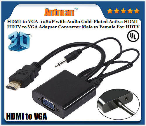 HDMI to VGA Converter Adapter HDMI Cable Support HD 1080P with 3.5 mm Audio