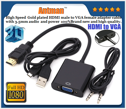 Mini HDMI to VGA Adapter Cable with Audio with Power