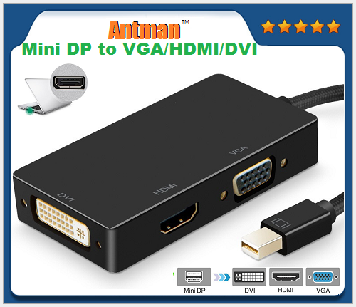 Mini Display Port DP to DVI VGA HDMI TV AV HDTV Adapter cable 3 in1 for Mac