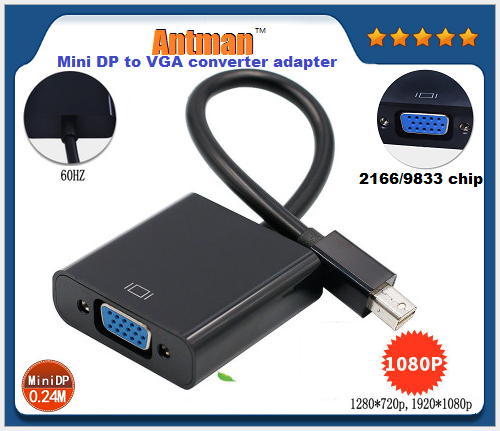 Mini DP to VGA converter adapter use 2166/9833 chip 1080p mini displayport to vga cable for LCD monitor