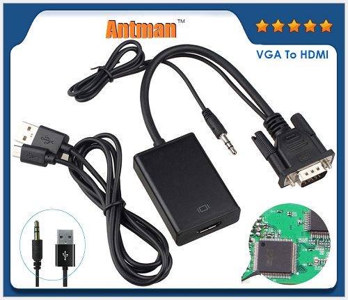 HDMI Female to VGA Male Converter Adapter with 3.5mm Audio Cable