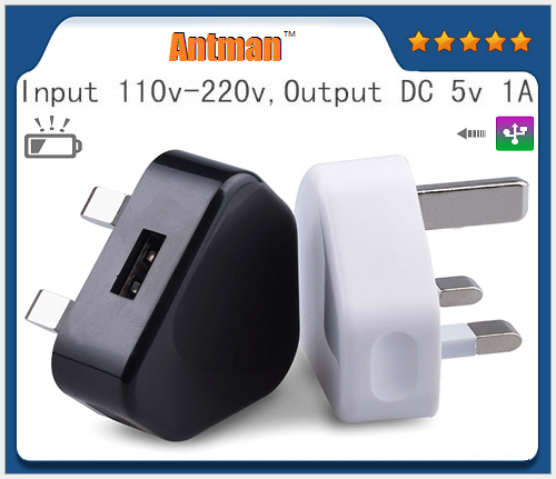 Single port UK 5V1A 3pin USB AC power wall charger plug adapter