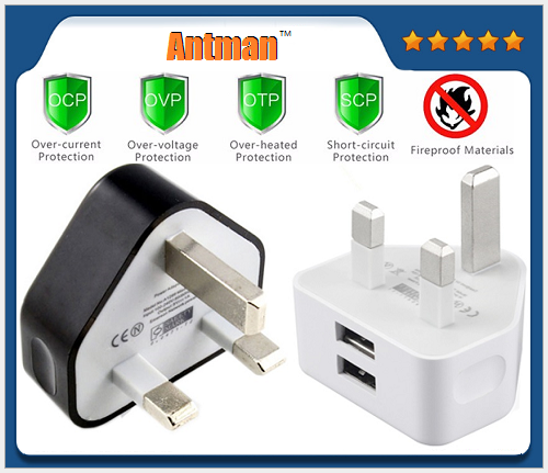 Universal Dual Wall Charger 3pin UK Plug 2 USB Port Travel Charger Adapter