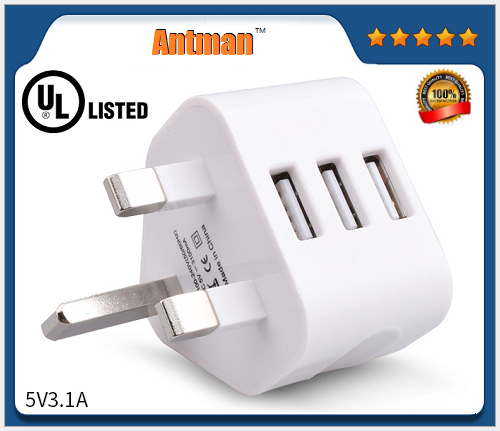 Wholesale 5V 3.1A 3 USB Ports 3Pin UK Plug Wall Charger Travel Adapter For Mobile Phone