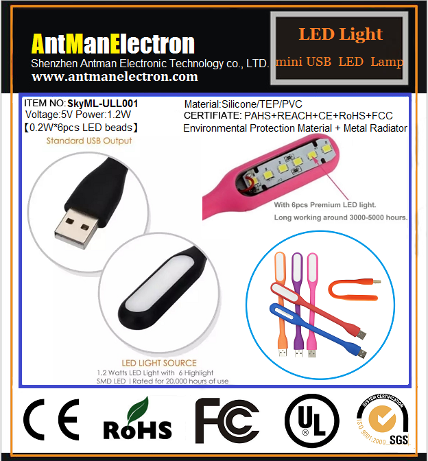 New Flexible Bright Mini LED USB Light Computer Lamp for Notebook Computer PC