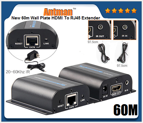 New 60m Wall Plate HDMI To RJ45 Extender,HDMI 60m over single cable extender by Cat5e/Cat6