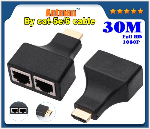 HDMI To Dual RJ45 Port Network Cable Extender Over CAT-5e CAT6 1080p up to 30m Extender