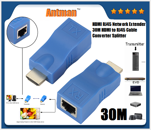 HDMI Extender 4K TX RX up to 30M 100Ft HDMI Extender over RJ45 Cat5E Cat6 Cable