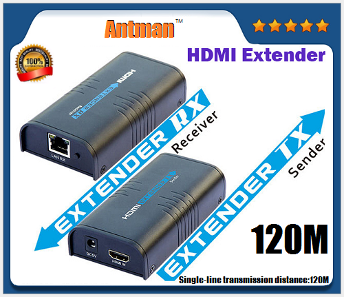 HDMI extender Transmitter Receiver Signal amplifier expander to RJ45 Cat5e/6 cable 1080p HD Singal to 120M Over