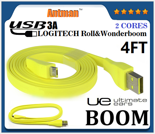 For LOGITECH Roll/Wonderboom Bluetooth Speaker PC/DC charger 4 FT Flat Micro USB Cable Noodle YELLOW(about 120cm)