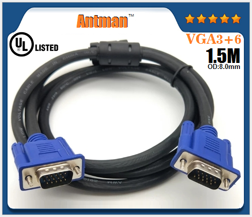VGA 3+6 OD8.0mm Male to Male Support 4k*2K 3D TV HDMI Cable